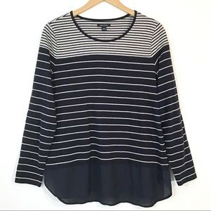 Nautical - Striped Top With Sheer Hem Layered Look